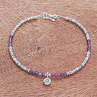 Amethyst beaded bracelet, 'Karen Glee' - Karen Silver Amethyst Beaded Bracelet from Thailand