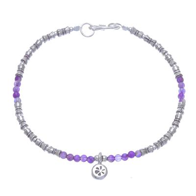 Karen Silver Amethyst Beaded Bracelet from Thailand