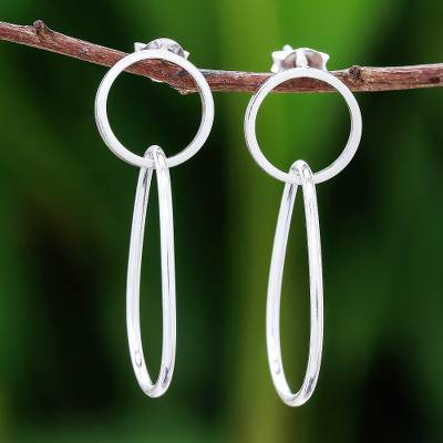 Sterling silver dangle earrings, 'Interlinked Drops' - Drop-Shaped Sterling Silver Dangle Earrings from Thailand