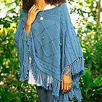 Short cotton poncho, 'Charming Knit in Cerulean' - Short Knit Cotton Poncho in Cerulean from Thailand
