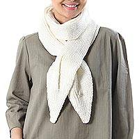 Cotton scarf, 'Ascot Charm in Eggshell' - Knit Cotton Wrap Scarf in Eggshell from Thailand