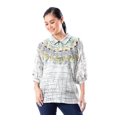 Cotton batik tunic, 'Batik Style' - Cotton Batik Tunic Top with Colorful Designs from Thailand