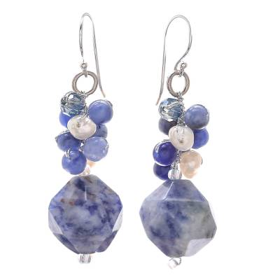 Lapis Lazuli and Cultured Pearl Beaded Cluster Earrings