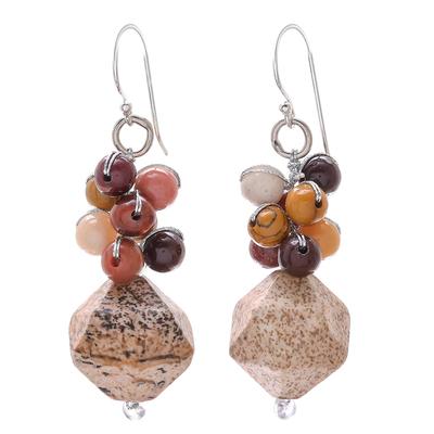Jasper Beaded Cluster Earrings from Thailand