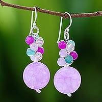 Quartz beaded cluster earrings, 'Fantastic Grapes' - Quartz Beaded Cluster Earrings from Thailand
