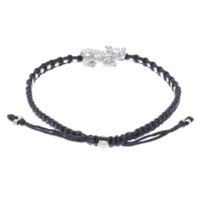 Sterling Silver Macrame Pi Xiu Pendant Bracelet in Black