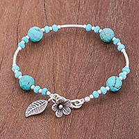 Silver and reconstituted turquoise beaded bracelet, 'Forest River'