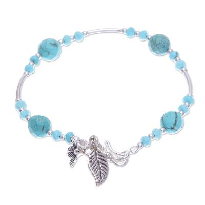 Silver beaded bracelet, 'Forest River' - Silver and Reconstituted Turquoise Beaded Bracelet