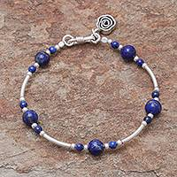 Lapis lazuli beaded bracelet, 'Fascinating Rose' - Lapis Lazuli Beaded Bracelet from Thailand