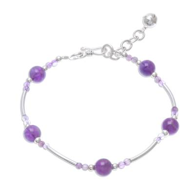 Amethyst Beaded Bracelet with a Bell Charm from Thailan