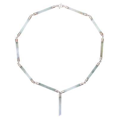 Jade link necklace, 'Bamboo Inspiration' - Light Green Jade Link Necklace from Thailand