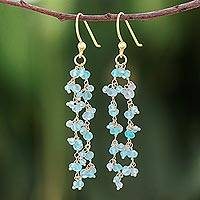 Gold accented apatite dangle earrings, 'Arctic Dream'