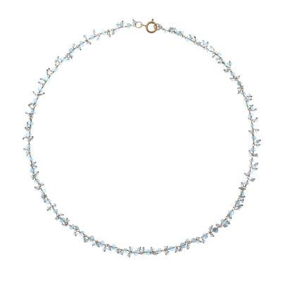 Gold accented apatite charm necklace, 'Arctic Dream' - Gold Accented Apatite Charm Necklace from Thailand