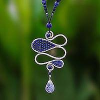 Lapis lazuli and sodalite beaded pendant necklace, 'Bohemian Delicacy'