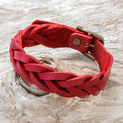 Leather braided wristband bracelet, 'Everyday Charm in Red' - Leather Braided Wristband Bracelet in Red from Thailand