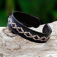 Leather cuff bracelet, 'Thai Pattern in Black'