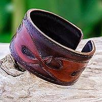 Leather cuff bracelet, 'Tribal Pattern in Dark Brown'