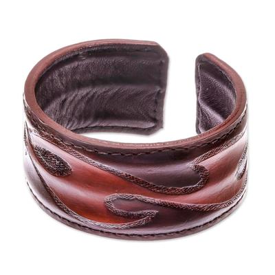 Leather cuff bracelet, 'Tribal Pattern in Dark Brown' - Tribal Pattern Dark Brown Leather Cuff Bracelet