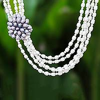 Cultured pearl beaded strand necklace, 'Powerful Cluster'
