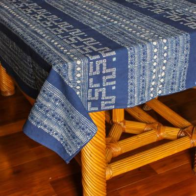 Batik cotton tablecloth, 'Fascinating World' - Hand-Stamped Geometric Batik Cotton Tablecloth from Thailand