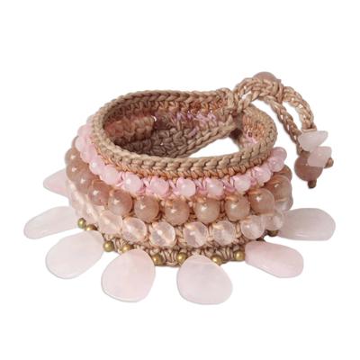 Rose Quartz and Quartz Beaded Charm Bracelet from Thailand
