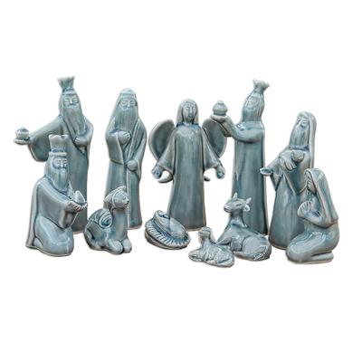 Blue Celadon Ceramic Nativity Scene (11 Piece)
