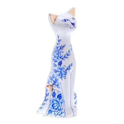 Floral Benjarong Porcelain Cat Statuette (7.5 in.)
