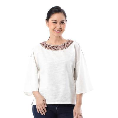 Cotton blouse, 'Vibrant Waves in Eggshell' - Cotton Blouse in Eggshell from Thailand