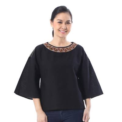 Cotton blouse, 'Vibrant Waves in Black' - Cotton Blouse in Black from Thailand