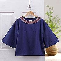Cotton blouse, 'Vibrant Waves in Indigo' - Cotton Blouse in Indigo from Thailand