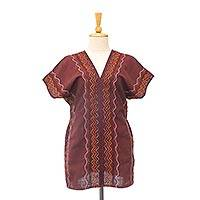 Cotton blouse, 'Karen Style in Mahogany'