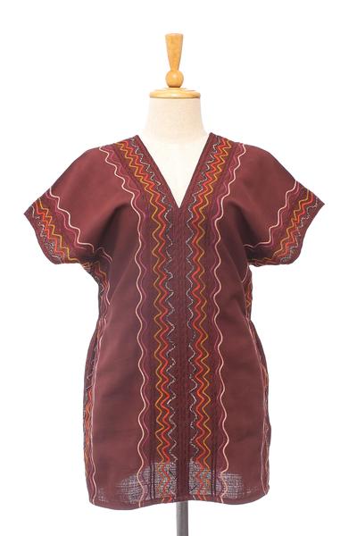 Cotton blouse, 'Karen Style in Mahogany' - Wavy Embroidered Cotton Blouse in Mahogany from Thailand