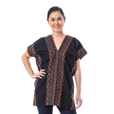 Cotton blouse, 'Karen Style in Onyx' - Wavy Embroidered Cotton Blouse in Onyx from Thailand