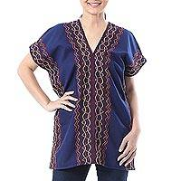 Cotton blouse, 'Karen Style in Indigo' - Wavy Embroidered Cotton Blouse in Indigo from Thailand