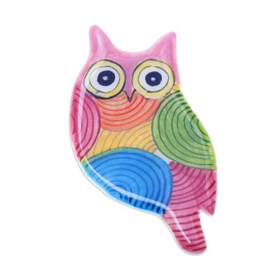 Colorful Ceramic Owl Brooch from Thailand