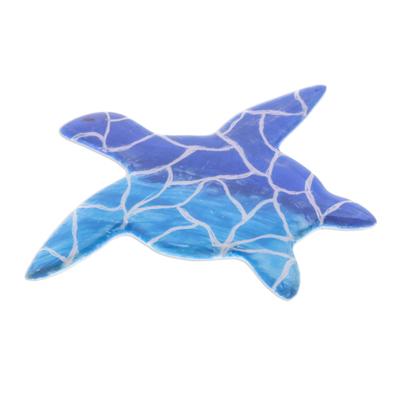 Hand-Painted Ceramic Sea Turtle Brooch in Blue