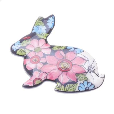 Hand-Painted Floral Ceramic Rabbit Brooch from Thailand