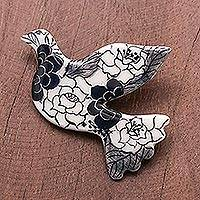 Ceramic brooch pin, 'Rosy Dove' - Black Floral Ceramic Dove Brooch Pin from Thailand