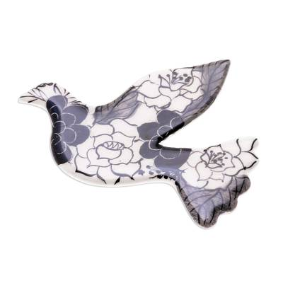 Black Floral Ceramic Dove Brooch Pin from Thailand