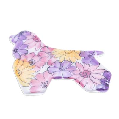 Floral Ceramic Cocker Spaniel Brooch Pin from Thailand