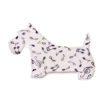 Music-Themed Ceramic Scottish Terrier Brooch from Thailand