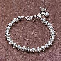 Silver beaded bracelet, 'Delightful Patterns'