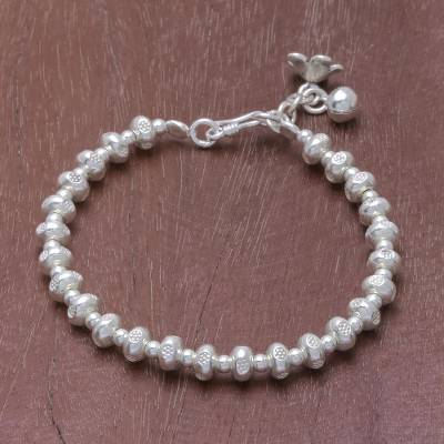 Silver beaded bracelet, 'Delightful Patterns' - Patterned Silver Beaded Bracelet from Thailand