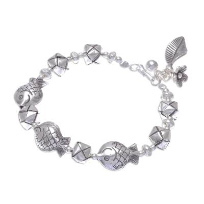 Fish Motif Karen Silver Beaded Bracelet from Thailand