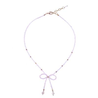 Rose Quartz and Cultured Pearl Beaded Lariat Necklace