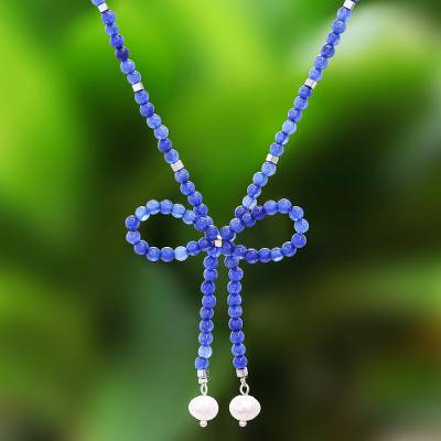 Quartz and cultured pearl beaded lariat necklace, Lovely Bow in Blue