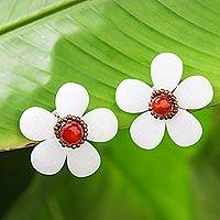 Quartz and carnelian button earrings, 'White Flower Garden' - Floral Quartz and Carnelian Button Earrings from Thailand