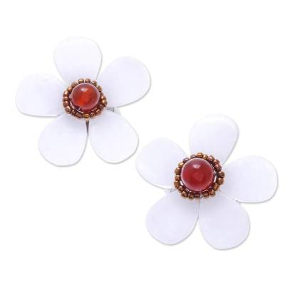Floral Quartz and Carnelian Button Earrings from Thailand