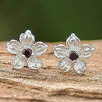 Garnet stud earrings, 'Winter Blooms' - Floral Garnet Stud Earrings from Thailand
