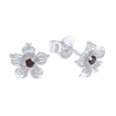Floral Garnet Stud Earrings from Thailand